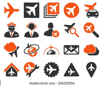 Aviation Icon Set. These flat bicolor icons use orange and gray colors. Vector images are isolated on a white background.