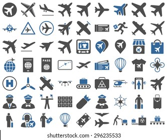 Aviation Icon Set. These flat bicolor icons use cobalt and gray colors. Vector images are isolated on a white background.