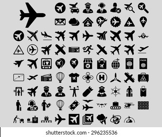 Aviation Icon Set. These flat icons use black color. Vector images are isolated on a light gray background.