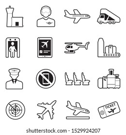 Aviation Icons. Line With Fill Design. Vector Illustration.