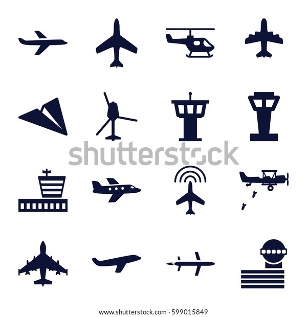 aviation icons set. Set of 16 aviation filled icons such as plane, airport tower, airport, helicopter, military plane