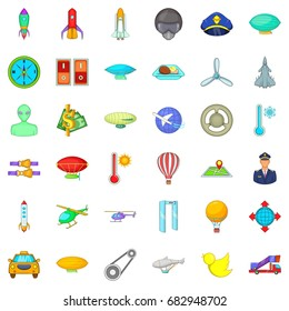 Aviation icons set. Cartoon style of 36 aviation vector icons for web isolated on white background