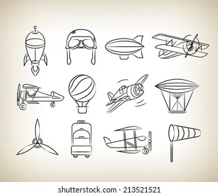 aviation icons set, sketch icons