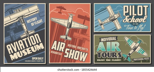 Aviation museum, flight school and air tour retro banners. Airplanes history exhibition, air show and pilot academy, airline travel posters. Antique biplane and monoplane flying in sky sketch vector