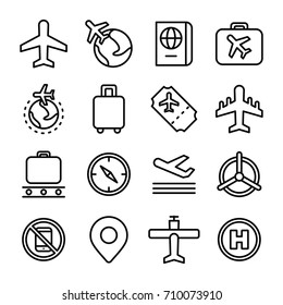 Aviation outline vector icons set and air travel concept icon