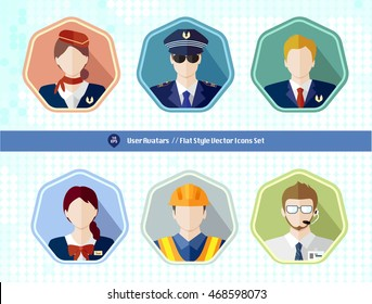 Aviation people avatar user long shadow icon. pilot, captain, flight attendant, cabin crew, maintenance man, ground service, air Traffic Controllers . Style is a flat symbol on a heptagon background