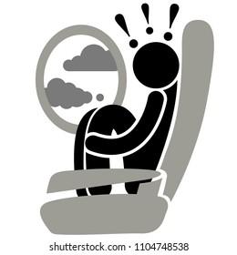 Aviation phobia. Aerophobia. Phobia. Turbulence. Fear of flying. Logo, icon, silhouette, sticker, sign.