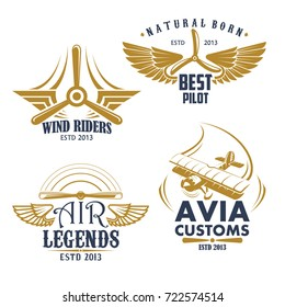 Aviation pilots and retro airplane icons. Vector isolated set of aircraft propeller and wings for avia customs badges, airscrew for air flight legend or best adventures and sport team
