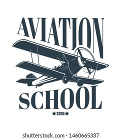 Aviation school logo with flying airplane, retro style vector illustration