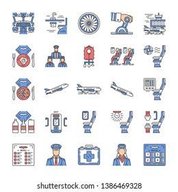 Aviation services color icons set. Airplane comfortable seating. Passengers at plane salon. Jet safeness. Aircraft travel. Journey amenities. Airline facilities. Isolated vector illustrations