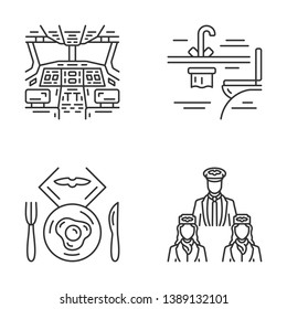 Aviation services linear icons set. Aircrew, airplane toilet, flight breakfast, pilot cockpit. Aircraft travel staff. Thin line contour symbols. Isolated vector outline illustrations. Editable stroke