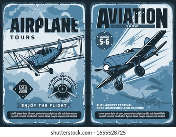 Aviation show, custom airplanes professional pilot flights festival, vector vintage retro posters. Civil aviation, military airforce and propeller airplane patriotic day aviators show