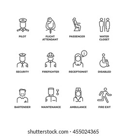 Aviation staff linear vector icons. Pilot, passenger, stewardess, security officer outline symbols. Illustration staff for aviation stewardess and nurse, Line set of icon for airport