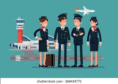 Aviation themed vector concept layout with aircrew characters such as pilots and stewardesses standing with airport and flying jet plane on background