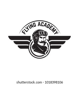 Aviation training center emblem template with retro airplane. Design element for logo, label, emblem, sign. Vector illustration