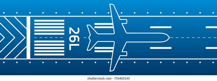 Aviation transportation illustration. Plane is on the runway. Vector design