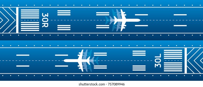 Aviation transportation illustration. Plane is on the runway. Vector design