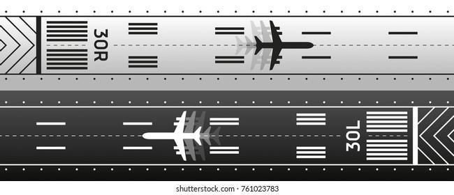 Aviation transportation illustration scheme. Plane is on the runway. Vector design