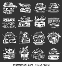 Aviation vector icons vintage and modern planes. Flight school, pilot courses, tours and international airport. Flying club, seaplanes and airplane aviation, air show, aviators and fliers labels set