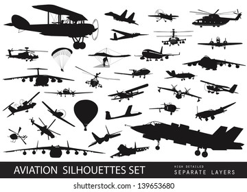 Aviation vectors. Vintage and modern aircraft silhouettes set