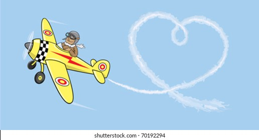 Aviator in love.Pilot by the plane draws heart in the sky
