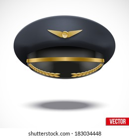 Aviator Peaked cap of the pilot. Civil aviation and air transport. Vector Illustration.