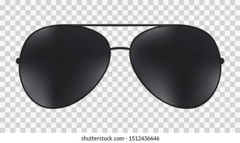 Aviator police isolated sunglasses . Vector black glasses .
