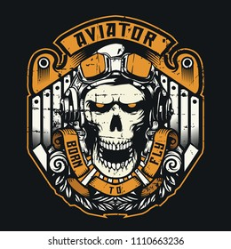aviator skull born to fly design for t shirt and community club or group of pilot art work