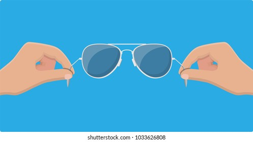 7bb659ac96b3 Aviator sunglasses in hand. Protective eyewear. Vector illustration in flat  style