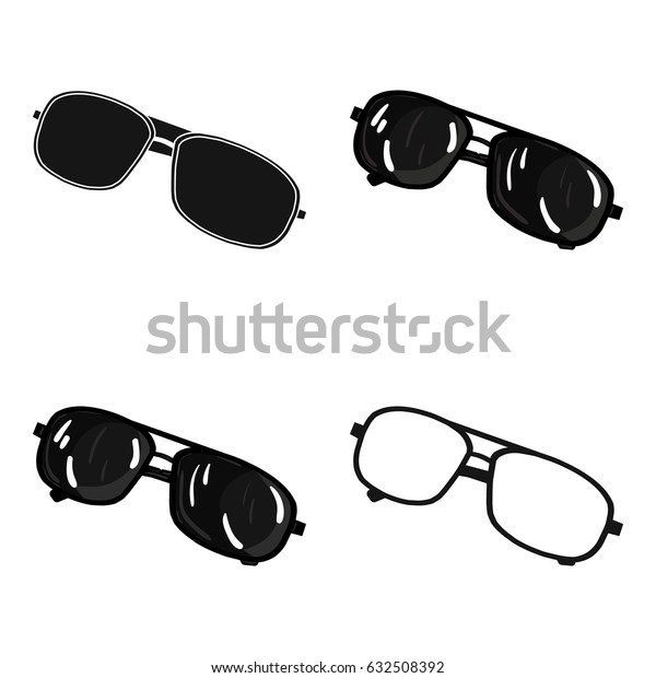 Aviator sunglasses icon in cartoon style isolated on white background.