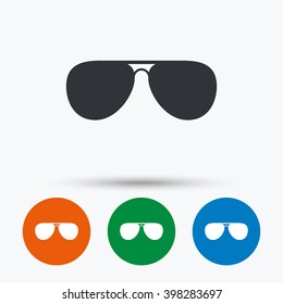 Aviator sunglasses icon. Pilot glasses symbols. Flat signs in circles. Round buttons for web. Vector