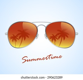 aviator sunglasses with palms reflection vector illustration background
