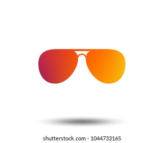 Aviator sunglasses sign icon. Pilot glasses button. Blurred gradient design element. Vivid graphic flat icon. Vector