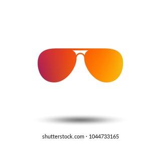 Aviator sunglasses sign icon. Pilot glasses button. Blurred gradient design element. Vivid graphic flat icon. Vector