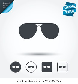Aviator sunglasses sign icon. Pilot glasses button. Circle and square buttons. Flat design set. Thank you ribbon. Vector