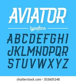 Aviator typeface, modern style uppercase font. Vector illustration.