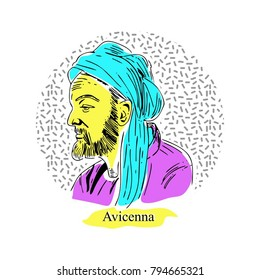 Avicenna line art with memphis colors.