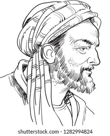 Avicenna/ibni sina (980-1037) portrait in line art illustration. He was Persian polymath, physician, astronomer and thinker of the Islamic Golden Age and the father of early modern medicine.