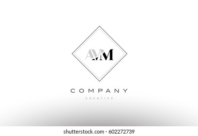 avm a v m retro vintage simple rhombus three 3 letter combination black white alphabet company logo line design vector icon template