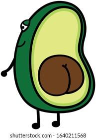 Avocado avo half butt icon