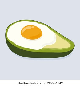 Avocado baked with egg. Freshly baked delicious avocado with egg inside, healthy meal. Yummy breakfast. Hand drawn vector illustration isolated on background.