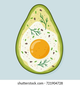 Avocado baked with egg and seasoning, top view. Freshly baked delicious avocado with egg inside, healthy meal. Yummy breakfast. Hand drawn vector illustration isolated on background.