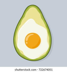 Avocado baked with egg, top view. Freshly baked delicious avocado with egg inside, healthy meal. Yummy breakfast. Hand drawn vector illustration isolated on background.
