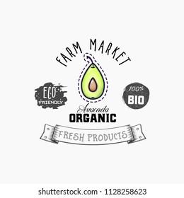 Avocado Bio sticker and eco products. Avocado web element, Isolated Vector.