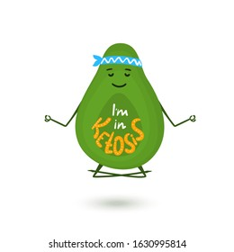 Avocado cartoon character is meditating in lotus position. Hand drawn lettering I'm in Ketosis. Healthy lifestyle concept