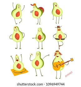 Avocado cartoon characters set, emotional avocados in different situations vector Illustration on a white background
