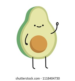 Avocado cartoon vector. Avocado character design.