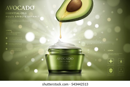 Avocado cream ads, oil dripped from fruit anatomy to a cream container isolated on bokeh glitter green background, 3d illustration