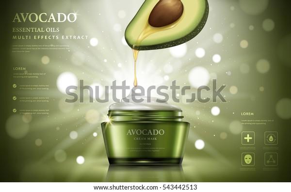 Авокадо крем объявления, масло капало из фруктовой анатомии в контейнер для сливок, изолированный на боке блеск зеленый фон, 3d иллюстрация