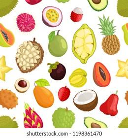Avocado and cupuacu, salak and kumquat, lychee and bael, papaya and mango, carambola and pineapple, guava vector seamless pattern of tropical fruits